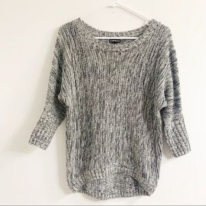 Express Black and White Marled Sweater